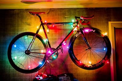 Christmas lights on a bike